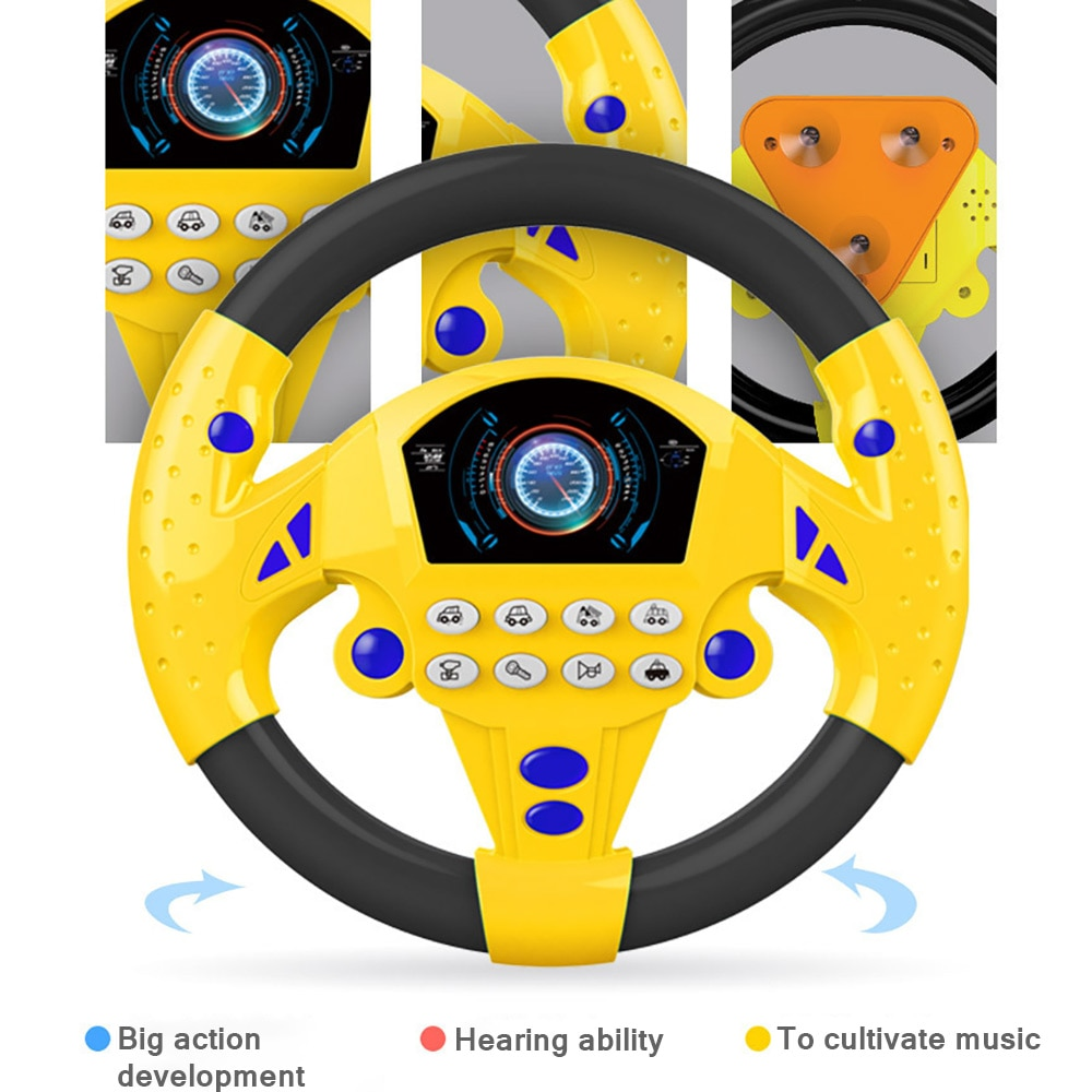 Baby Steering Toy Car Steering Wheel Sounds Toy Simulation Driving Toys Copilot Steering Wheel Game Baby Stroller Music Kid Gift