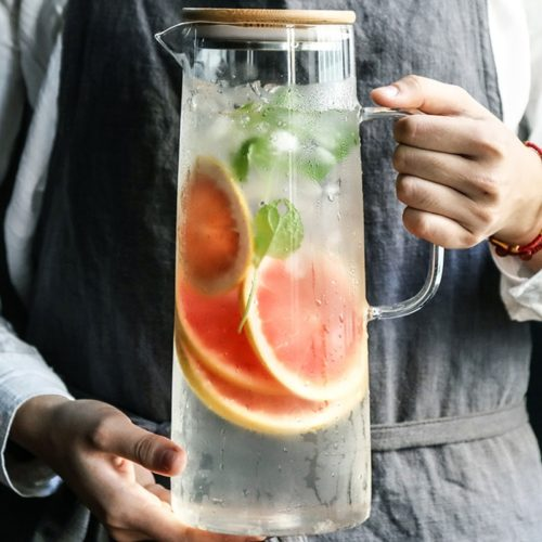 Glass Water Pitcher with Lid and Handle