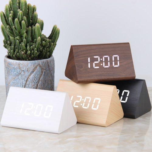 Voice Control Alarm Wooden Led Clock
