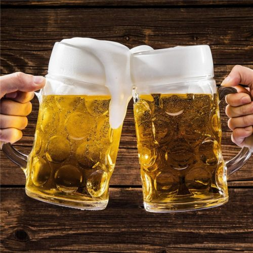 Large Glass 1 Liter Beer Mug