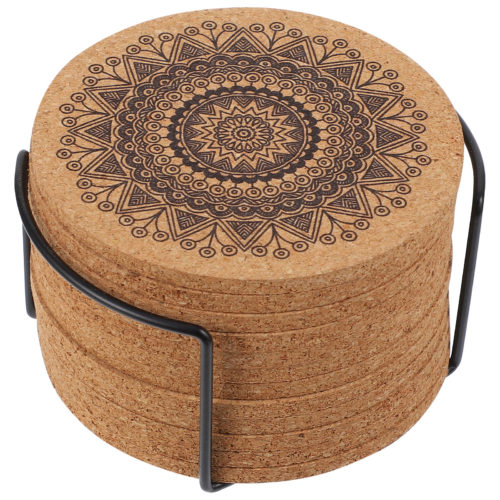 Cork Mandala Coasters with Holder