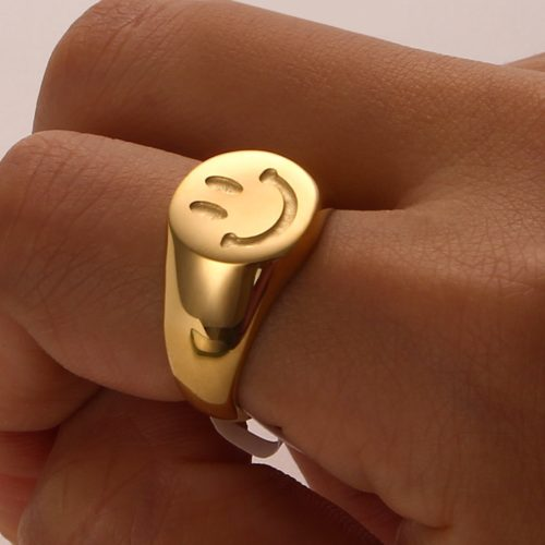 18K Gold Plated Ladies Smiley Face Ring