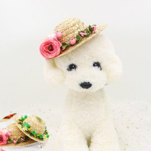 Summer Floral Dog Straw Hat