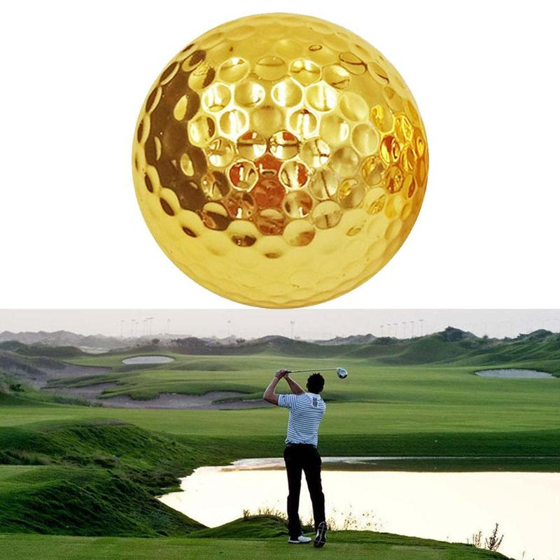 1Pcs Gold Golf Balls For Golfer Indoor Outdoor Swing Practice Putter For Father Balls Friend Gift Training Christmas O3U9