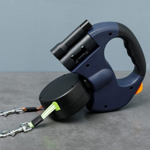 Double Dog Leash with Built-in Light