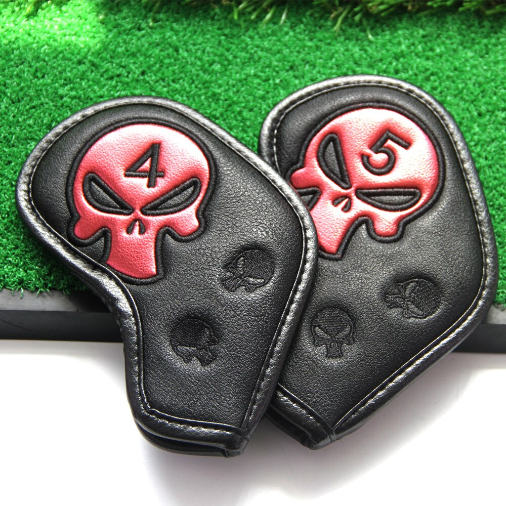 9Pcs/Set Golf Cover Skull Iron Pole Head Covers Putter Protector Outdoor Sports Waterproof Universal Protection
