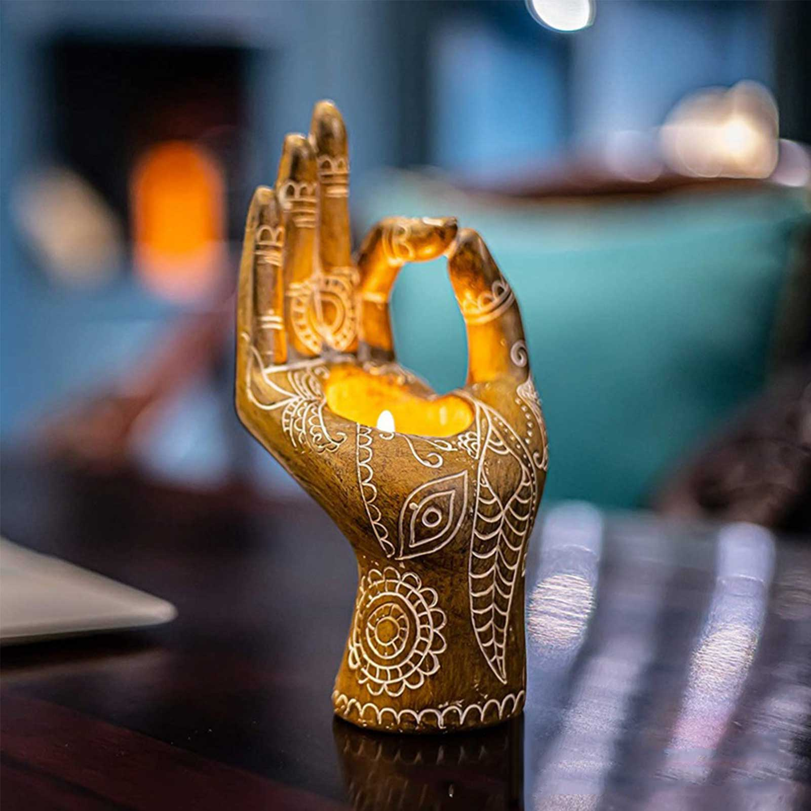 1pc Buddha Candle Holder Mudra Hand Tabletop Tealight Decor Collectible Figurines Festival Lighted Accessories Home Decoration