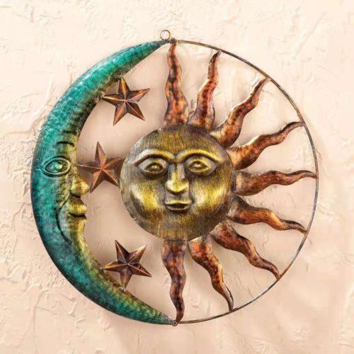 Metal Iron Sun Moon Wall Decor