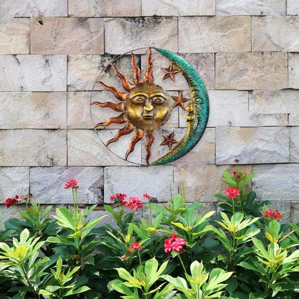 Iron Art Sun Moon Wall Decoration Pendant Wall Art Decoration Antique Interior Metal Wall Hanging Sun Moon Craft Decoration
