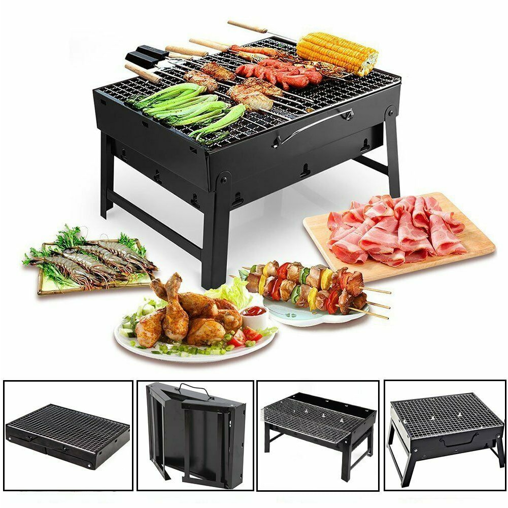 Foldable BBQ Grills Patio Barbecue Charcoal Grill Stove Stainless Steel Outdoor Camping Picnic Barbecue BBQ Accessories Tools