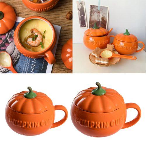Cute Ceramic Pumpkin Cup with Lid