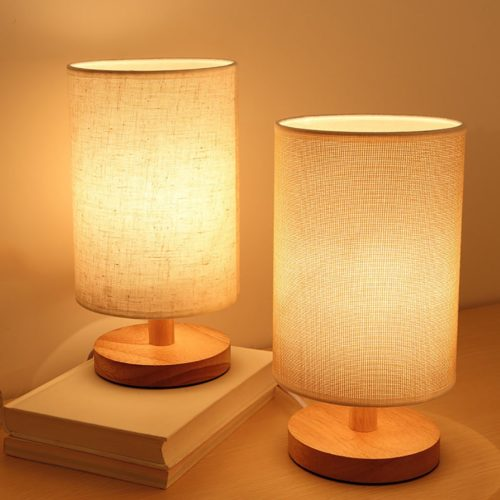 Nordic USB Wooden Bedside Table Lamp