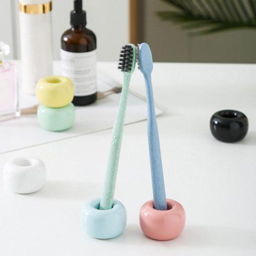 Mini Round Ceramic Toothbrush Holder