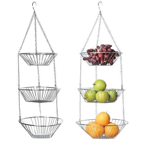 Stainless Steel 3-Tier Hanging Basket