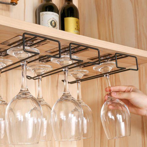 Iron Under Shelf Wine Glass Holder