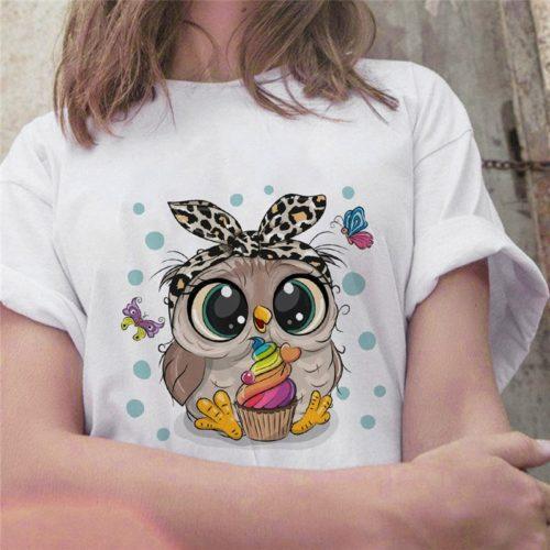 Cute Shirt for Women Printed Owl Design