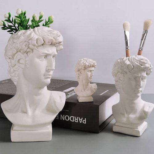 White Greek Head David Vase