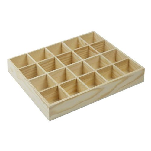 Natural 20-Grid Wooden Compartment Box