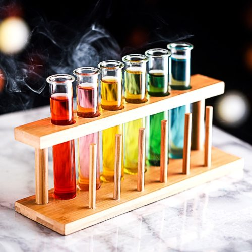 Test Tube Shot Glass with Wooden Rack
