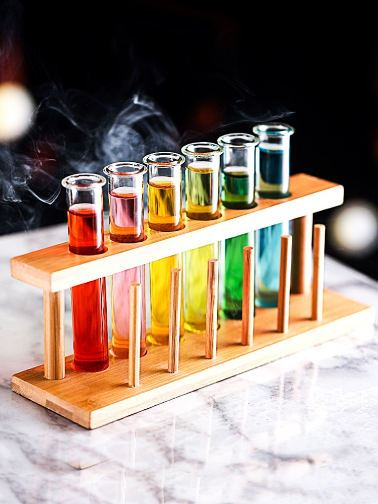 6 Piece Lot Test Tube Cocktail Glass Set With Free Rack Stand Bar KTV Night Club Home Party Shot Glasses Tipsy Holder Wine Cup