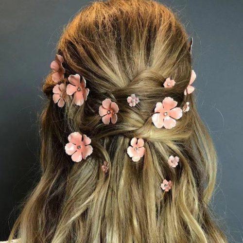 Rhinestone Floral Hair Pins (5pcs)