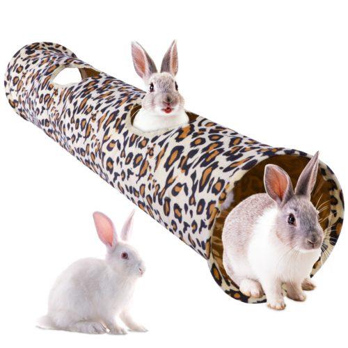 Leopard Print Plush Rabbit Play Tunnel