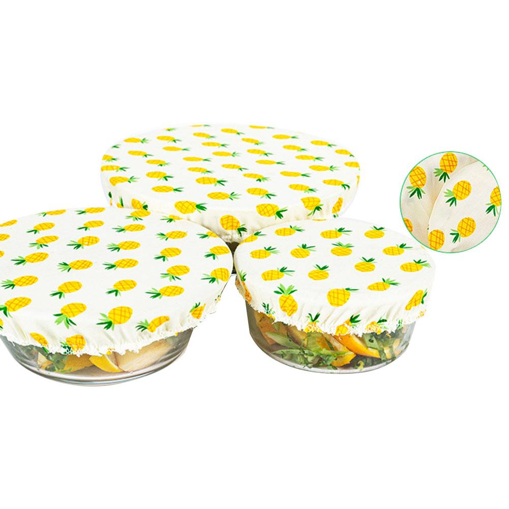 Reusable Cloth Bowl Cover Elastic Durable Cotton Cloth Dust Container Cover With Leak-free Lining Set Of 3