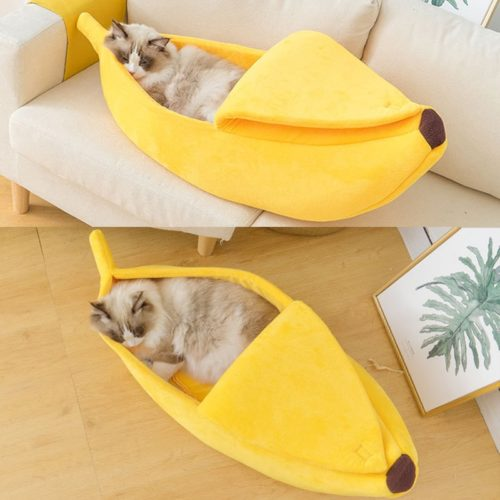 Soft Plush Banana Bed for Cats