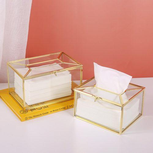 Luxurious Metallic Glass Tissue Box