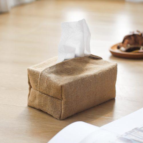 Rustic Linen Tissue Box Cover Pouch