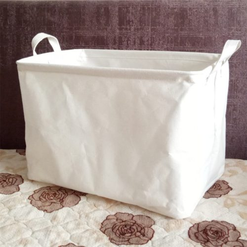 Rectangular White Linen Storage Basket
