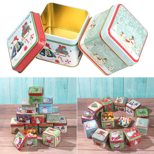 Square Christmas Holiday Cookie Tin