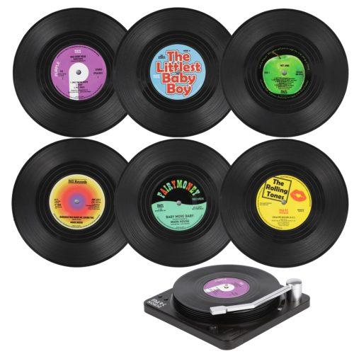 Vinyl Non-Slip Record Coasters (6pcs)