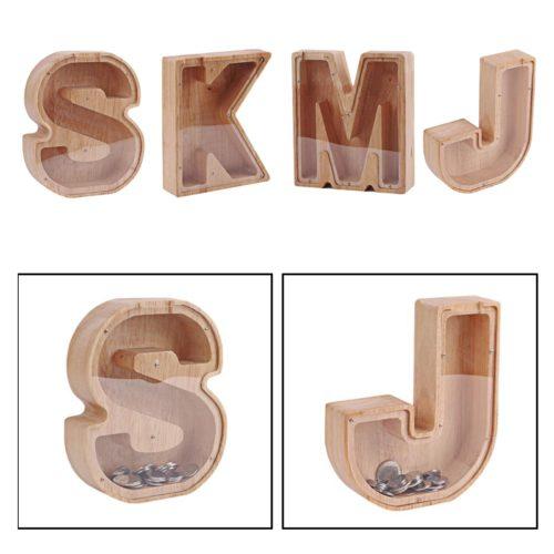 Wooden Clear Letter Piggy Bank