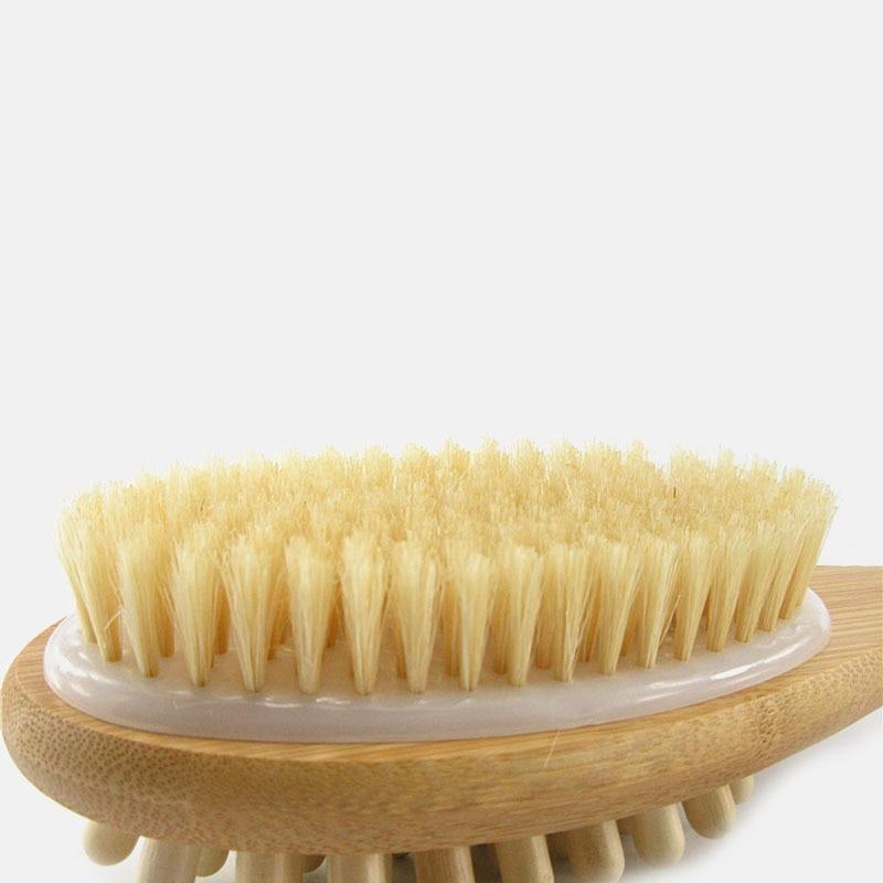 New Natural Long Wood Wooden Body Brush Massager Bath Shower Back Spa Scrubber Double-sided Massage Bathroom Bath Brush Hot Sale