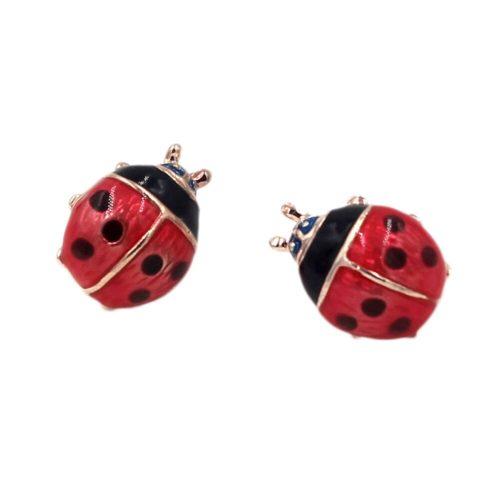 Retro-Style Metal Ladybug Earrings