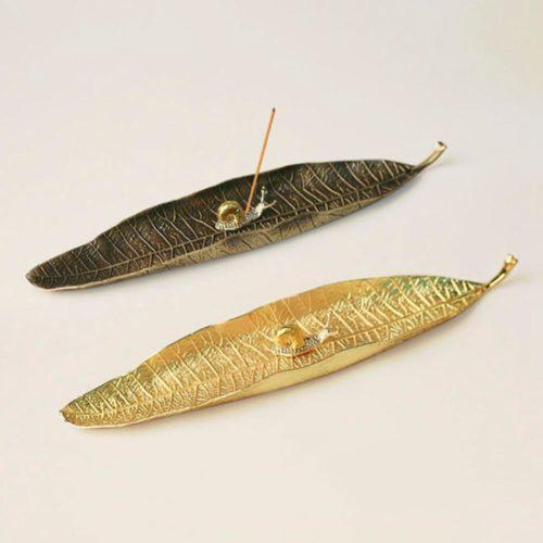 Leaf Design Meditation Incense Plate