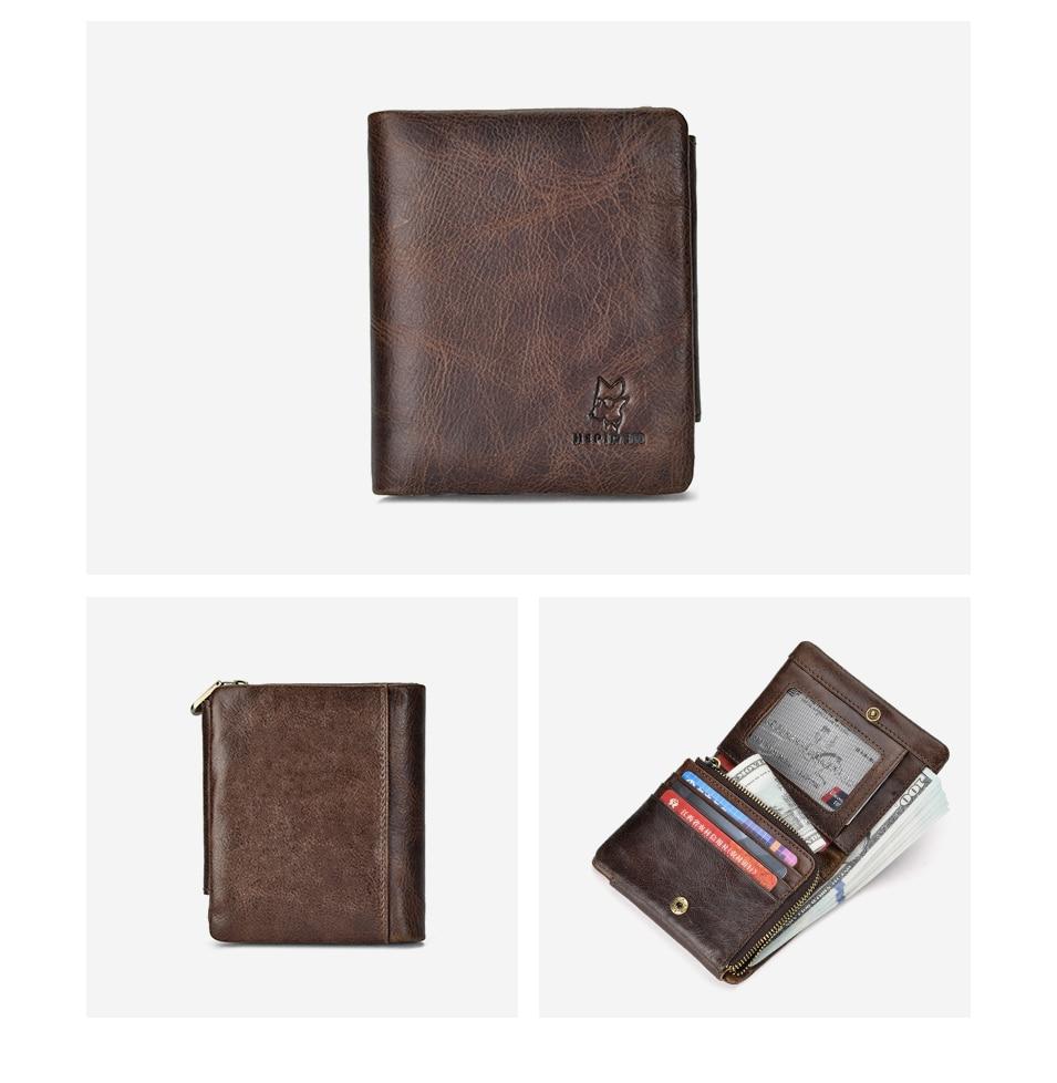 HEPIDEM RFID High Quality Genuine Leather Slim Wallet 2020 New Three Fold Front Pocket Money Dollar Bill Purse for Men 191