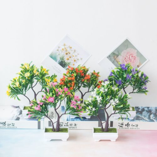 Small Artificial Tree with Flowers