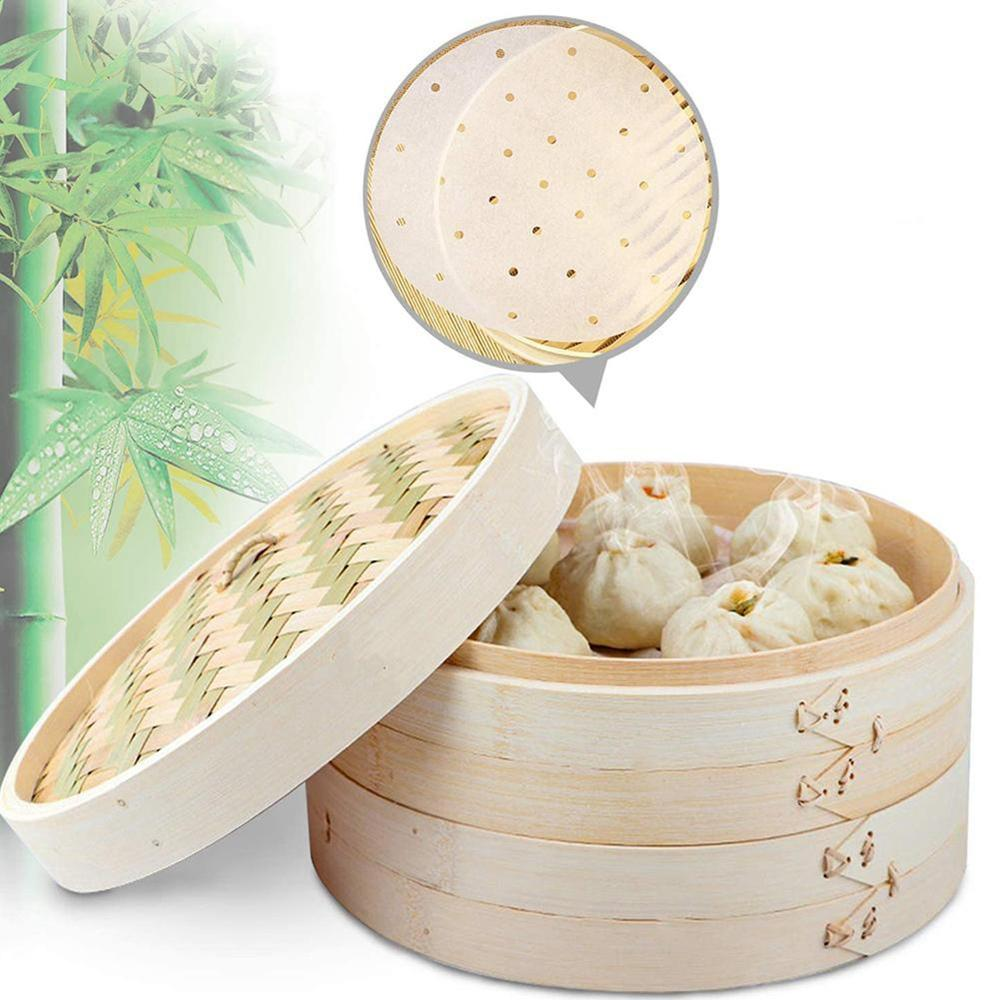 10/15/20cm Chinese Dumplings Bamboo Steamer Cooker with Lid Dimsum Steamer Fish Rice Vegetable Basket Kitchen Cooking Tools