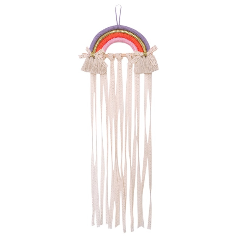 Rainbow Wall Hanging Decor Hair Bows Storage Belt For Girls Hair Clips Barrette Hairband Hanging Organizer Strip Holder Ornament