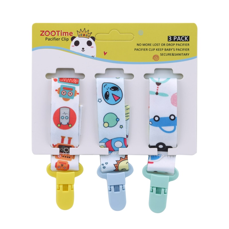 3 Pcs/Set Baby Pacifier Clip Pacifier Chain Dummy Clip Nipple Holder for Baby Cartoon Print Child Pacifier Clips Soother Holder