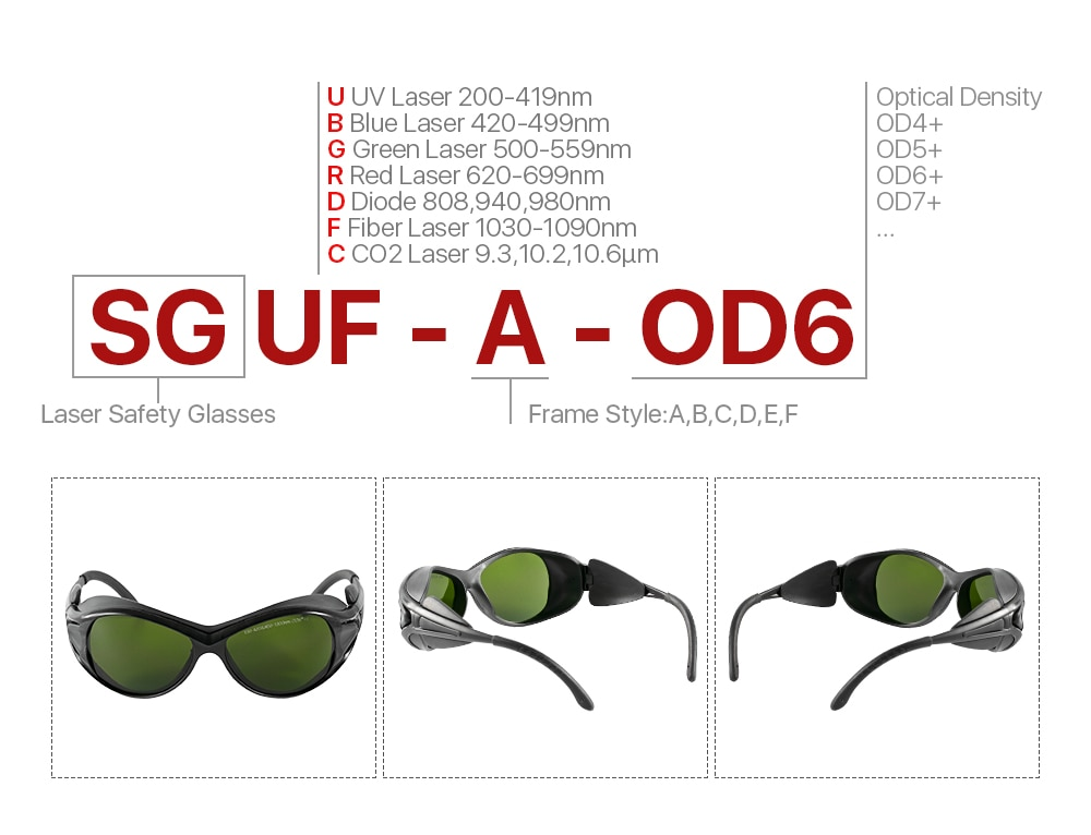 Ultrarayc 1064nm Laser Safety Goggles 850-1300nm OD6+ CE Protective Goggles Style A For Fiber Laser