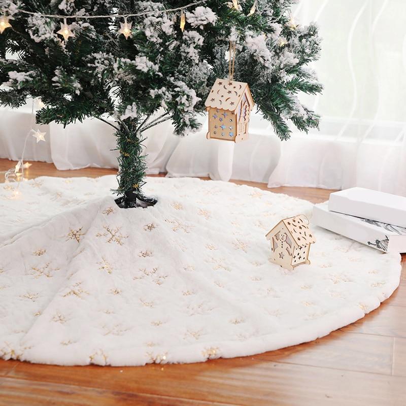 Christmas Tree Skirt 90/120Cm Christmas Tree Foot Carpet Tree Skirt Mat Under The Tree Christmas Decorations For Home Snowflake