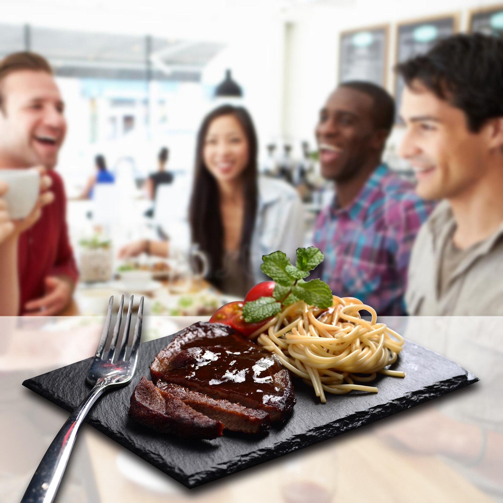 MALACASA 6Piece Natural Slate Rectangle Placemat Steak Plates Slate DinnerPlate BBQ Dessert Cake Kitchen Dishes Pizza Fruit Tray