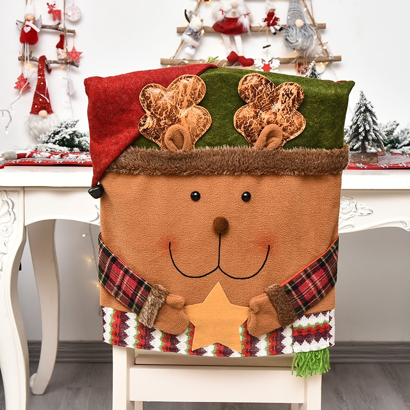 Christmas Chair Back Elastic Stretch Cover Santa Clause Holiday Party Decor Dining Kitchen Chair Covers Christmas Decoration