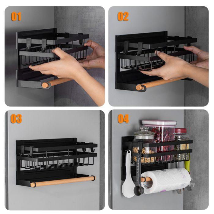 Magnetic Fridge Shelf Storage Rack