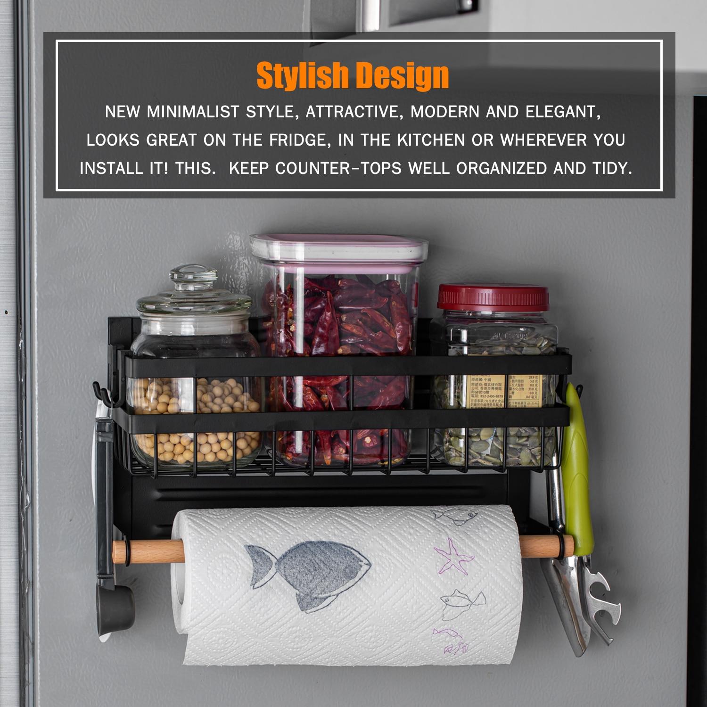 Magnetic Spice Rack for Refrigerator Kitchen Storage Rack with Hook Paper Towel Holder Refrigerator Side Hanging Organizer Shelf