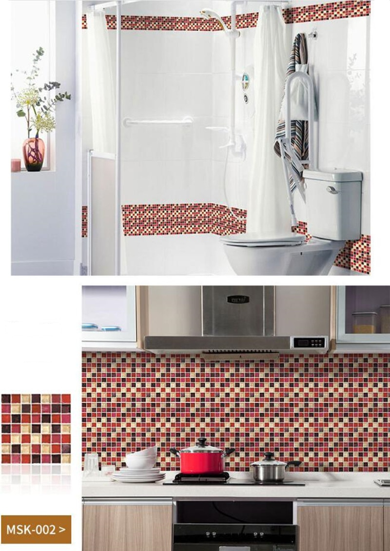 20Pcs 10CM Mosaic Tile Stickers Wall Stickers Bathroom Waterproof Self Adhesive Wallpaper Kitchen Oil Resistant Adhesive Paper