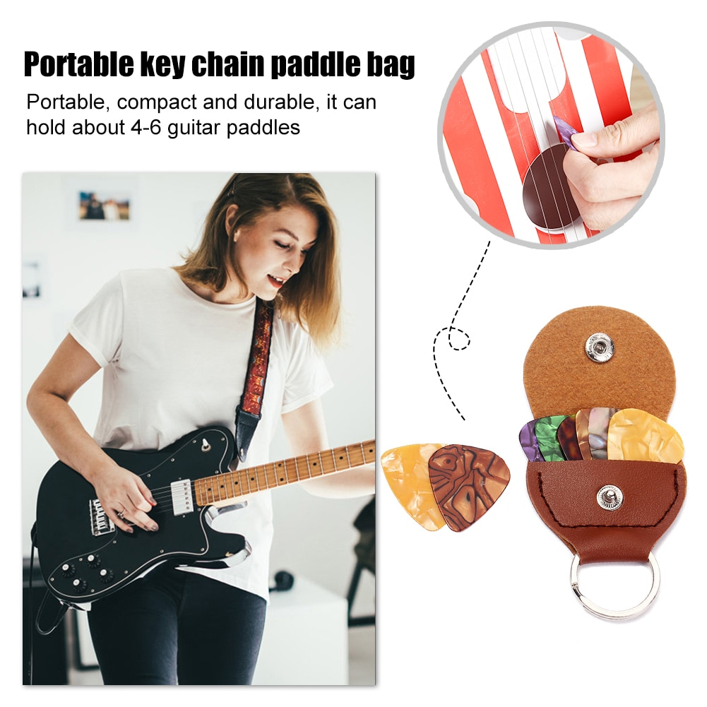 PU Leather Keychain Guitar Plectrums Holder Bags Pouch with 3 Picks 0.46mm Plectrum Case Bag Keychain Shape Guitar Accessories